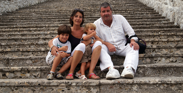 With Francesco and Livia on a family trip, 2012.
