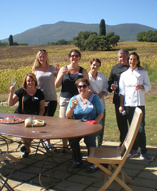 A group of students with the teachers at A Table in Tuscany