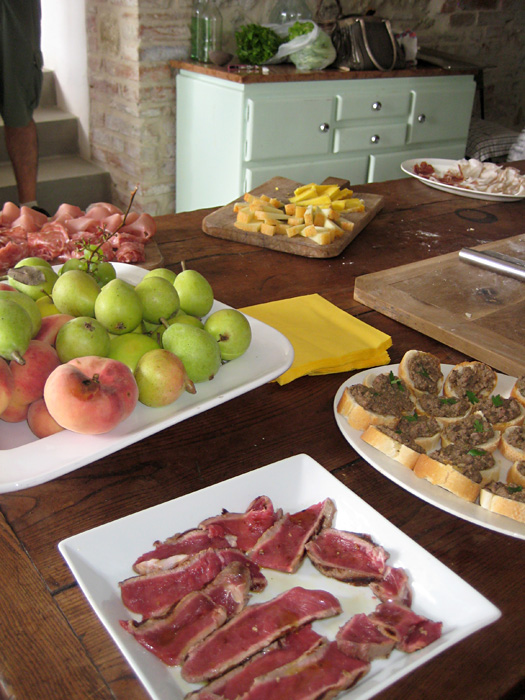 A spread on our kitchen table - 2 cooks in Tuscany